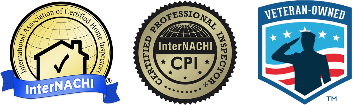 International Association of Certified Home Inspectors (InterNACHI) Logo, InterNACHI Certified Professional Inspector CPI logo, and Veteran-Owned logo
