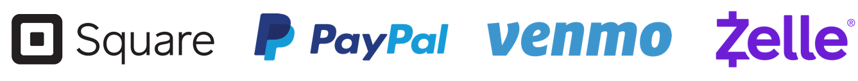 Online payment methods: Square, PayPal, Venmo, Zelle