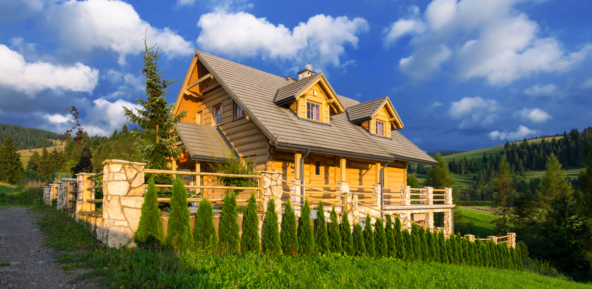 Traditional wooden mountain house built from wood logs  seen during a home inspection